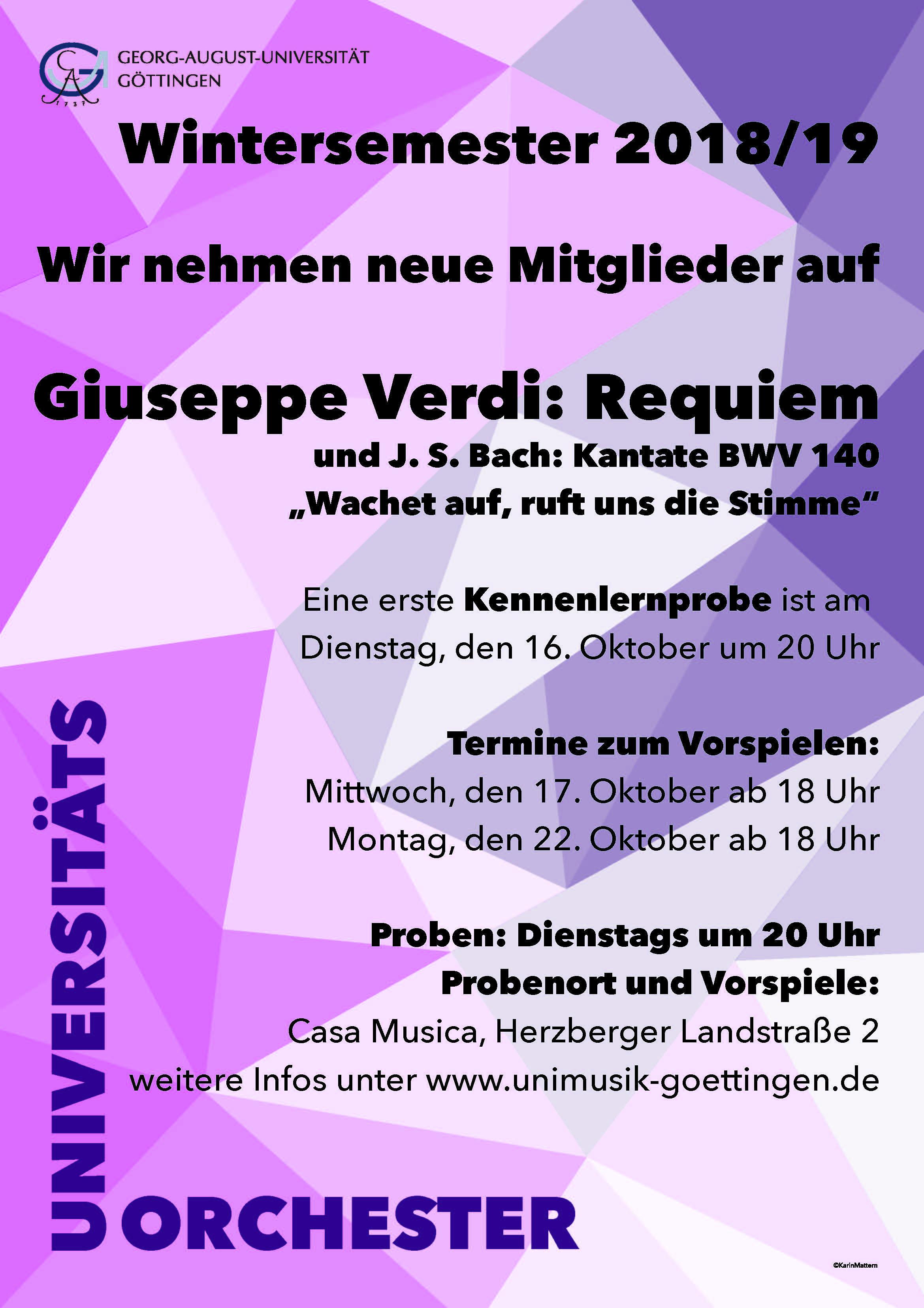 Mitgliederwerbung Orchester WS 2018/19